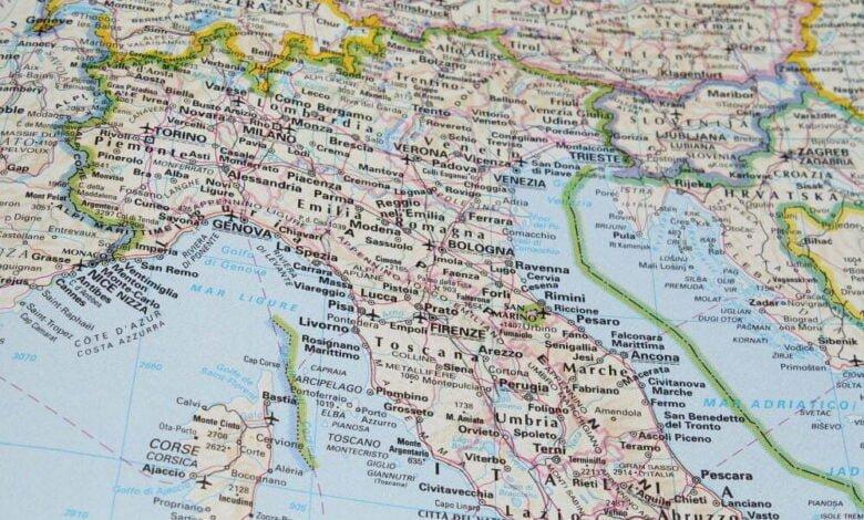 Italija, zemljevid, mapa